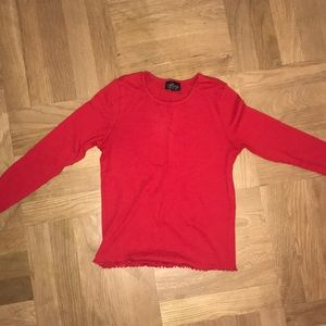 Long sleeve red lettuce shirt.